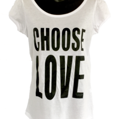 Choose Love - Ladies Puff Sleeve Tee - White