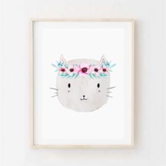 Pretty Kitty - Children's art. Watercolour cat wearing flower crown. A4 Print