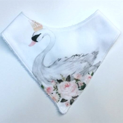 Floral Swan on white  Bandana bib