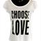 Choose Love - Ladies Puff Sleeve Tee - White
