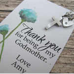Godmother Gift , Thank you Card,Personalized initial,Godmother Necklace.