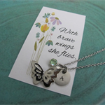 Butterfly Necklace, Butterfly Pendant, Personalized Birthstone Butterfly Gift.