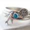 Tiny Turquoise Stacking Ring Set with Sterling Silver Compass & Plane Charms