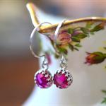 Sterling Silver Crown Bezel 8mm Lab Pink Ruby Drop Earrings