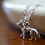 German Shepherd Necklace, Sterling Silver Dog Pendant with Chain