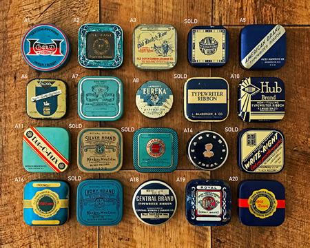 Vintage typewriter ribbon tins - for packaging typewriter key cufflink sets