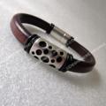 Urban Unisex Brown or Black Regaliz leather bracelet, European Zamak mag. clasp