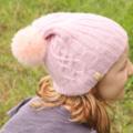 SALE! Soft Merino Pink Beanie with Pom Pom