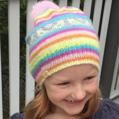 SALE! Soft Rainbow Fair Isle Beanie with Pom-pom | Kids beanie