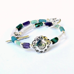 Hill Tribe & Sterling Silver, Semi Precious Gemstone Bracelet