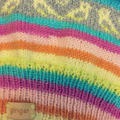 Soft Rainbow Fair Isle Beanie with Pom-pom