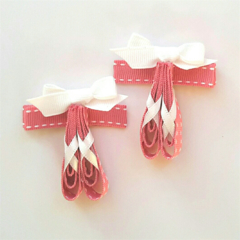 Pair of mauve OR pink ballet shoes ribbon hair clips