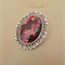 Large Brooch - Fuchsia, Pink, Burgundy - Oval Vintage Cabochon -BR019