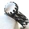 Celtic Moonstone Wedding Set: White Gemstone Engagement Ring & Matching Band
