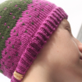 SALE! Purple & Green Merino Beanie with Pom-pom