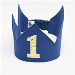 Glitter Crown  - Navy and Gold - First Birthday - Second Birthday - Photo Prop