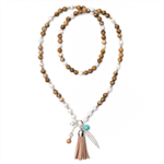 Tan Picture Jasper beaded necklace