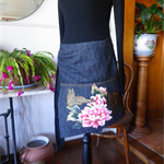 Black denim short wrap skirt
