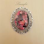 SALE 40% - Large Brooch - Fuchsia, Pink, Burgundy - Oval Vintage Cabochon -BR019