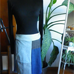Patchwork Denim Short Wrap Skirt