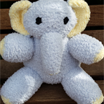 Elephant softie - grey and yellow, hand knitted. Child, baby, baby shower gift.