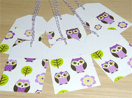 Set 12 Girls Party gift tags - purple owls
