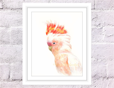 The Major Mitchell's cockatoo Print, A4 Size Pink Cockatoo, Watercolour Cockatoo