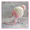 Cream & Pink Crochet Newborn Brimmed Baby Beanie with Pompom