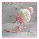 Cream & Pink Crochet Newborn Brimmed Baby Beanie with Pompom