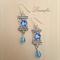 Rectangle Earring - Blue Long Earring - Sapphire, Aqua Blue - Steel - E026