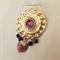 Gold Brooch - Purple Black Brooch - Round Brooch - Heart - Swarovski - Gold tone