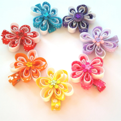 Colour/white flower ribbon with flower button centre hair clip