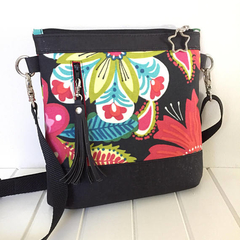 Cross Body Sling Bag in Floral Fabric and Black Cork