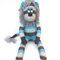 'Logan' the Sock Lion - aqua and grey - *MADE TO ORDER*