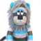 'Logan' the Sock Lion - aqua and grey - *MADE TO ORDER*