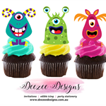 Monsters Edible Wafer Stand-Up Cupcake Toppers - Set of 16
