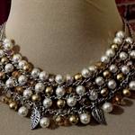Gold & White Faux Pearl Necklace & Bracelet Set