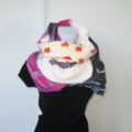 Felted Wrap Shawl Unique Winter Scarf Grey White Fuschia