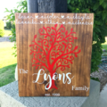 Personalised Family tree Wood Sign, Custom made with family, names & date