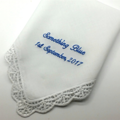 Something Blue Embroidered on a Handkerchief with Lace Edge, Bridal Hanky