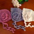 Vintage Style Crocheted Baby Bonnet, handmade crocheted Bonnet.