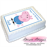 George Pig Personalised A4 Edible Icing Cake Topper