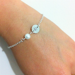 Simple Personalised Initial and Pearl Bracelet
