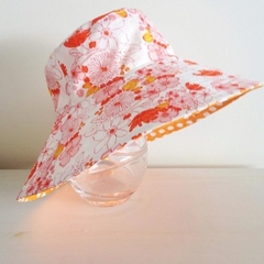 Girls size extra small summer hat in floral fabric-SECONDS