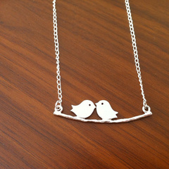 Love Birds on Branch Necklace - Kissing birds, Mother's Day Gift