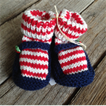 Striped strawberry knitted Mary-Jane baby booties