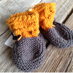 Yellow bobble knitted baby booties