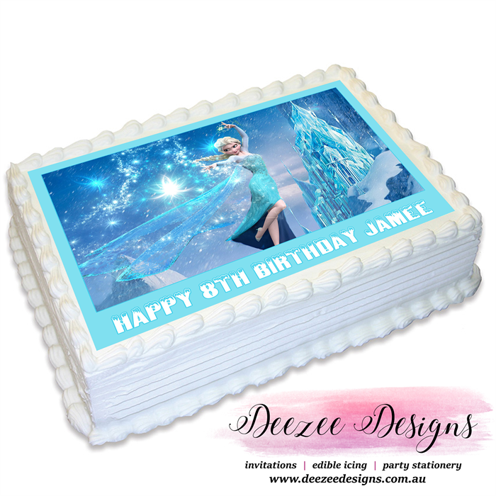 Frozen Elsa Personalised A4 Edible Icing Cake Topper Deezee
