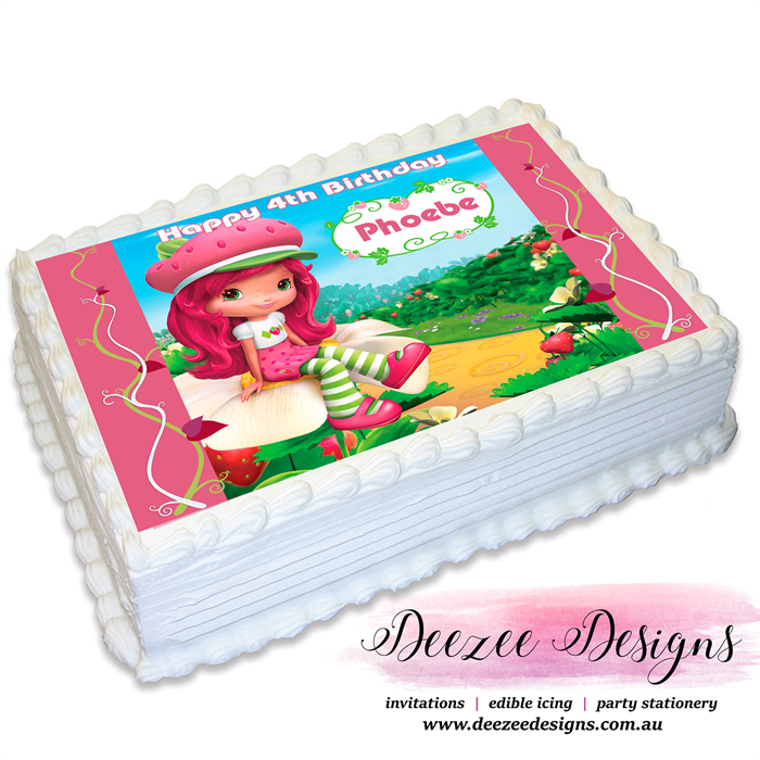 Admirable Strawberry Shortcake Personalised A4 Edible Icing Cake Topper Funny Birthday Cards Online Elaedamsfinfo
