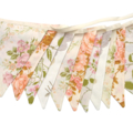 Vintage Bunting Spring Ivory Lace Floral Flags. Shabby Chic Wedding Party Decor